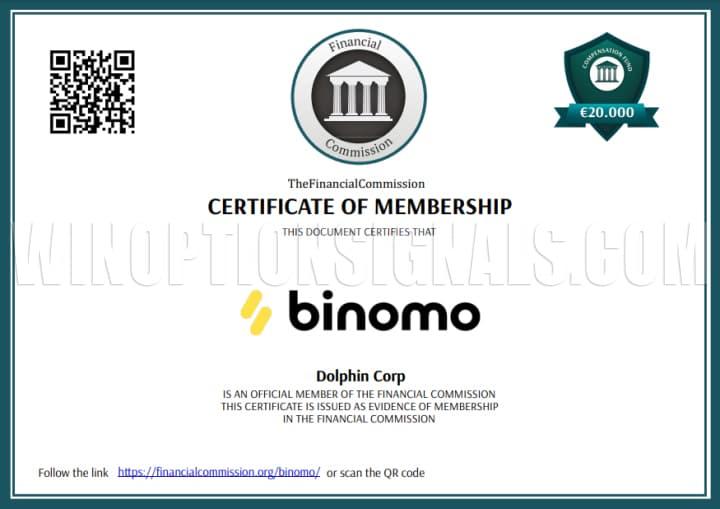 сертификат регулятора для биномо