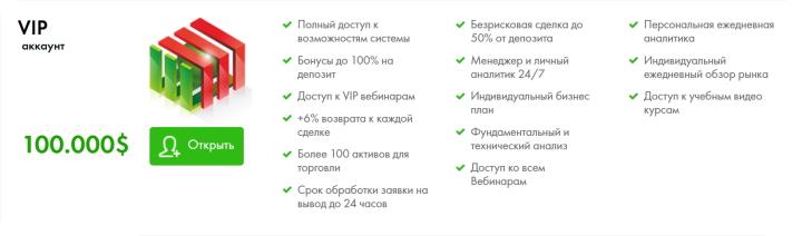 VIP-счет FiNMAX характеристики