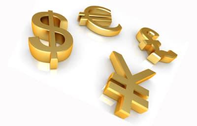 значки доллара, евро, йены и фунта