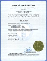 Лицензия Виргинских островов Deriv