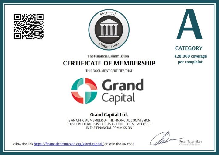Сертификат Grand Capital от FinaCom PLC LTD