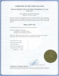 Сертификат Виргинские острова