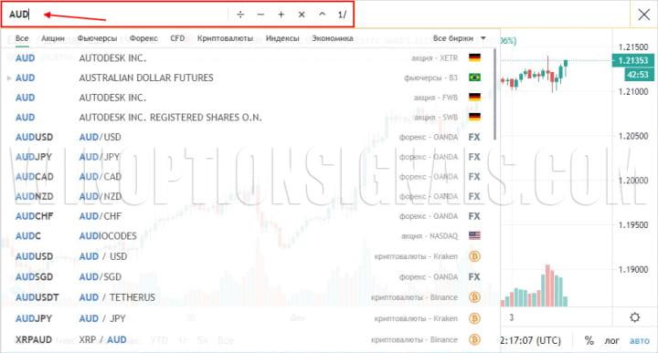 поиск актива на графике онлайн