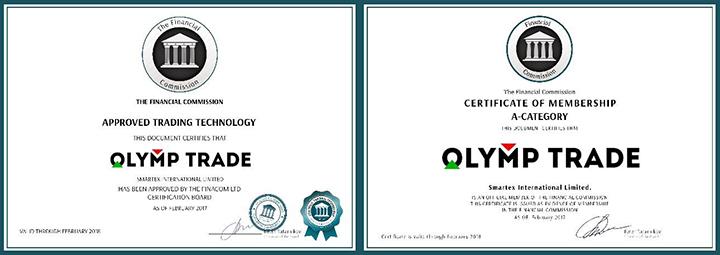Сертификаты olymp trade