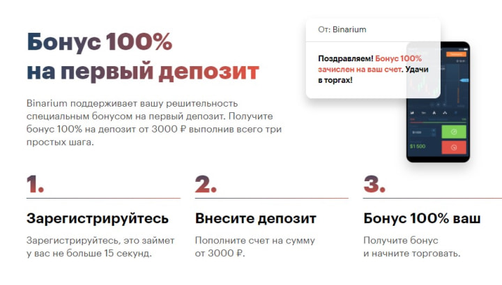 бонус 100% Бинариум