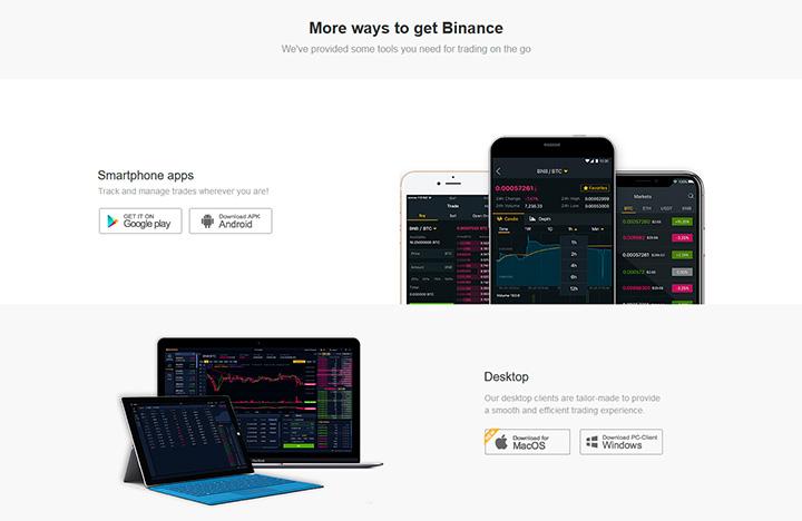 Приложения Binance для смартфонов