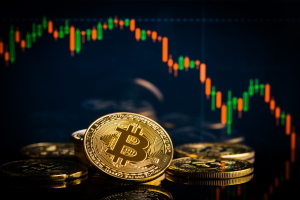 bitcoin на фоне графика