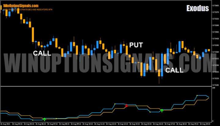 Пример покупки опционов по сигналам индикатора Exodus