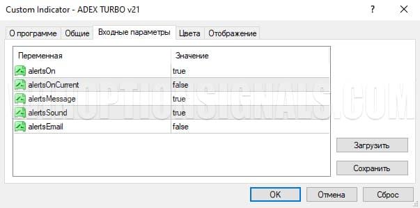 Настройка индикатор для бинарных опционов ADEX TURBO v21