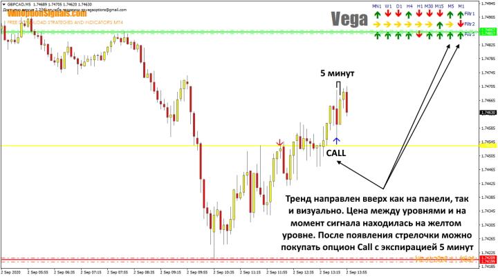 Покупка опциона Call по индикатору Vega