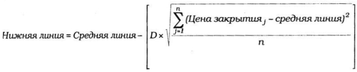 формула расчета нижней линии полос Боллинджера